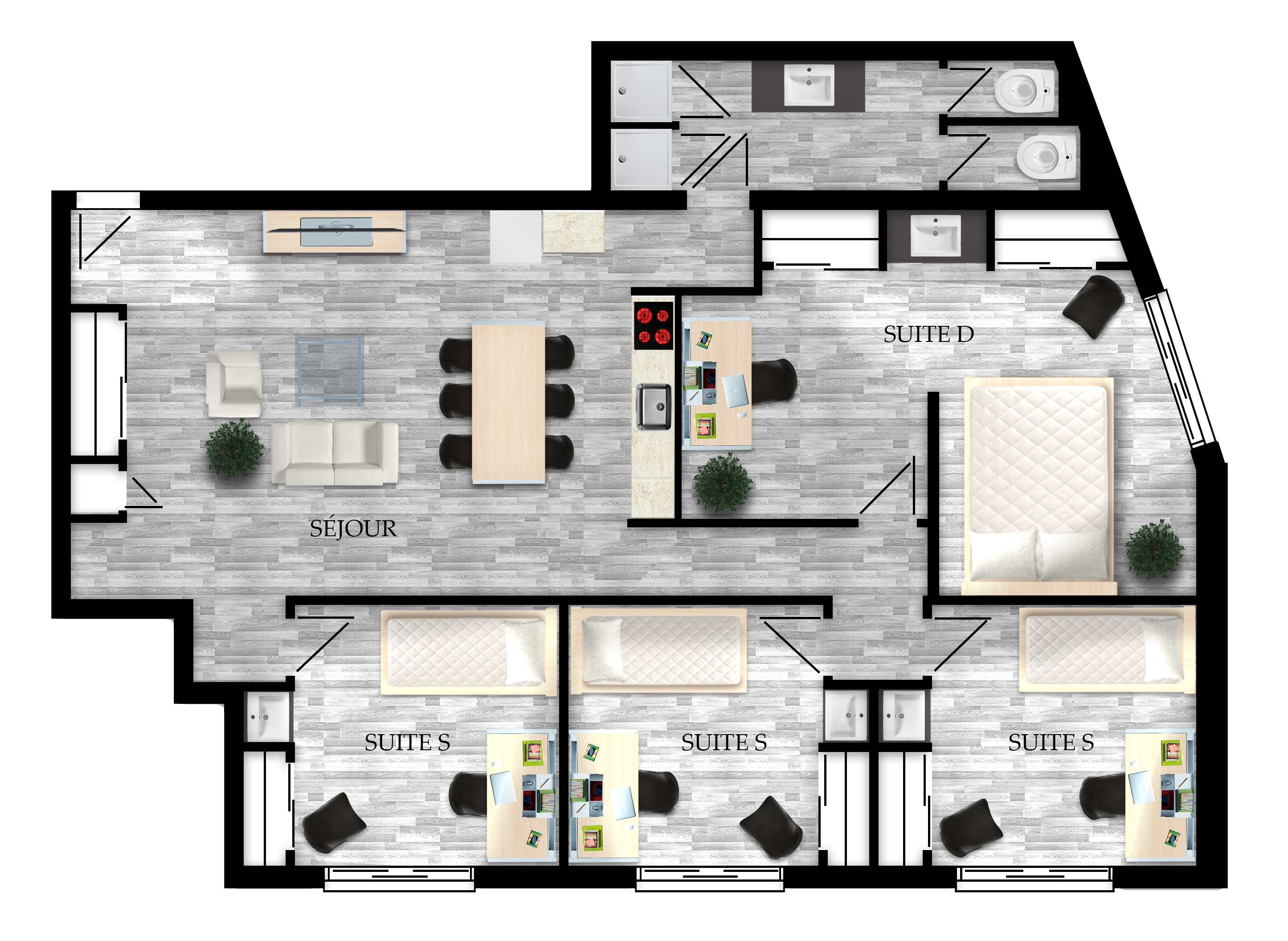 2- to 6-bedroom student apartment