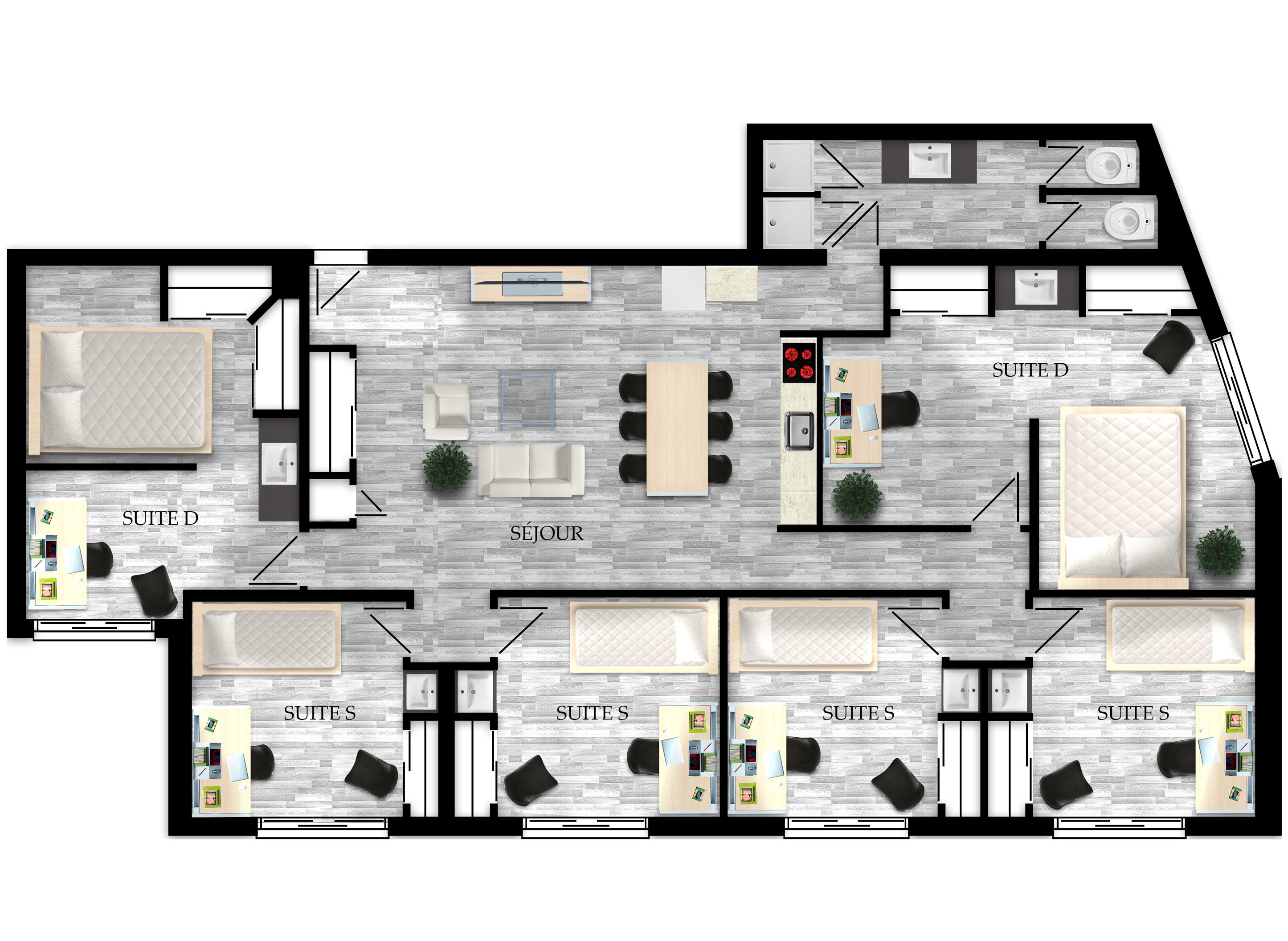 Appartement pour étudiants de 2 à 6 chambres